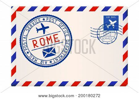 International air mail envelope from ROME, Italy. With round blue postal stamp. Vector 3d illustration isolated on white background