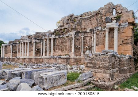 Ancient Side city agora. Side, Antalya province, Turkey