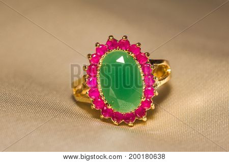 Golden Ring With Emerald