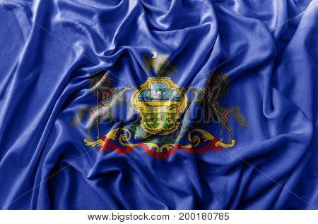 Ruffled waving United States Pennsylvania flag national
