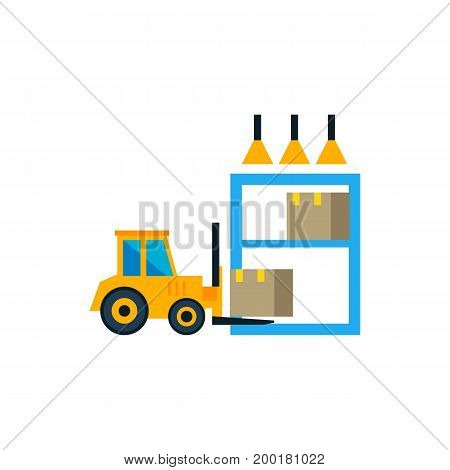 Icon of loader in storehouse. Machine, facility, terminal. Logistics concept. Can be used for topics like delivery, industry, distribution
