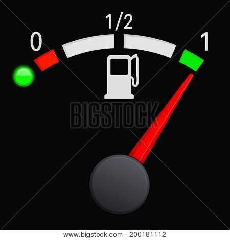 Black fuel gauge scale. Full tank. Vector 3d illustration