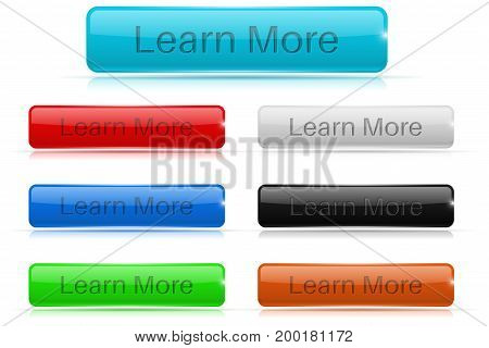 Learn more buttons. Glass rectangular 3d icons. Vector 3d illustration isolated on white background