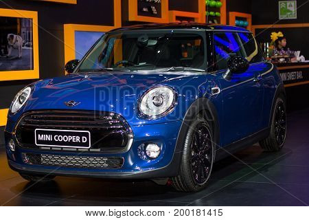 Bangkok Thailand - March 28 2014: MINI Cooper new model presented in Bangkok Motor Show 2014