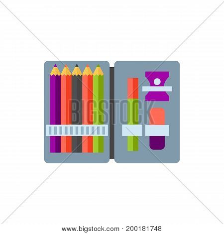 Icon of pencil box. Set, pencil case, colors. Stationary concept. Can be used for topics like education, creativity, school