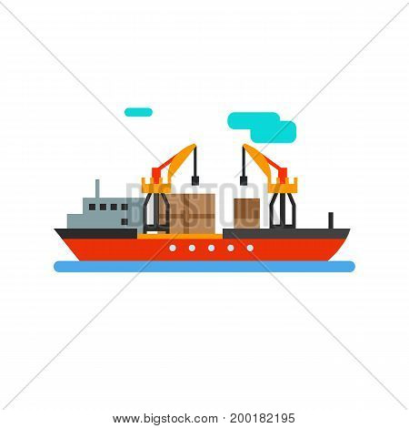 Icon of cargo ship. Sea transportation, vessel, export. Logistics concept. Can be used for topics like delivery, industry, distribution