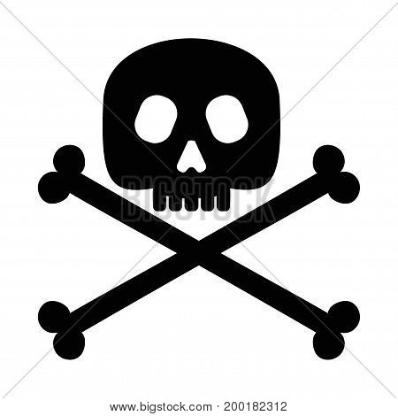 Skull and crossbones. Jolly Roger. Halloween Design Element. Flat vector cartoon illustration. Objects isolated on background.