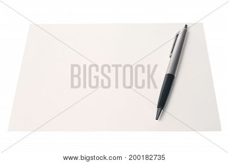 white paper with pen isolated on white background