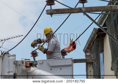 The Electrician Went Up To The Crane Basket