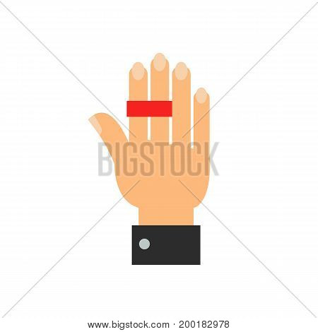 Icon of world no tobacco day. Hand, ribbon, reminder. Smoking concept. Can be used for topics like health, anti tobacco, event