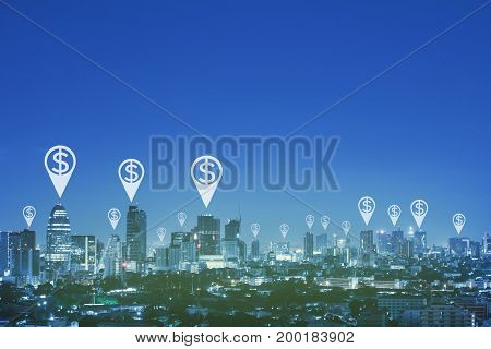 Pin and dollar symbol over cityscape with space and blue tone.