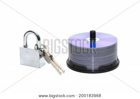 CD DVD media locked with a padlock isolated background