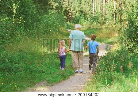 grandmother with little boy and girl walk in nature
