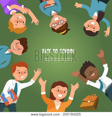 Vector illustration banner for back to school day with group elementary school boy and girl in cartoon style. Children students arranged in a circle on a background of green blackboard