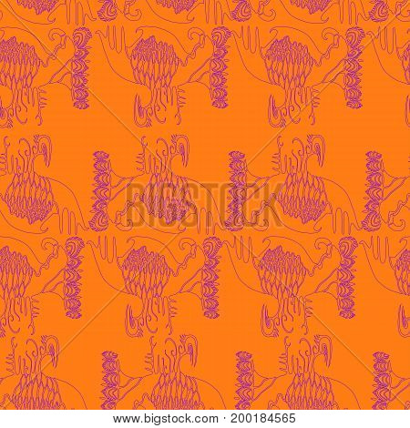 Indian boho seamless pattern. Vector hand drawn illustration design art book textile print poster design fabric.