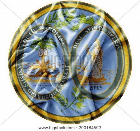 Ruffled waving United States South Carolina Seal flag