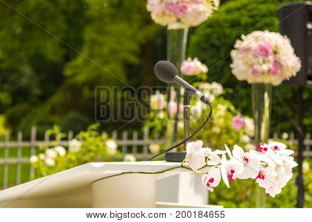 flowers decorate wedding ceremony. Weddings details flowers
