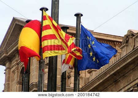 Flag of Catalonia spain and europion union in spain barcelona