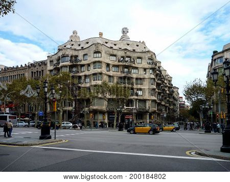 Modernist house Casa Mila also known as La Pedrera designed by Antoni Gaudi on november 19 2011 in Barcelona