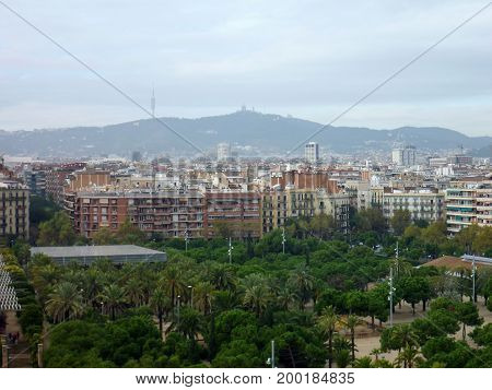 Placa Espanya and Montjuic Hill with National Art Museum of Catalonia Barcelona Spain november 18 2011