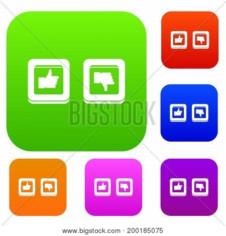 Signs hand up and down in squares set icon in different colors isolated vector illustration. Premium collection