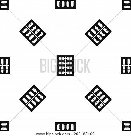 Capsules pattern repeat seamless in black color for any design. Vector geometric illustration