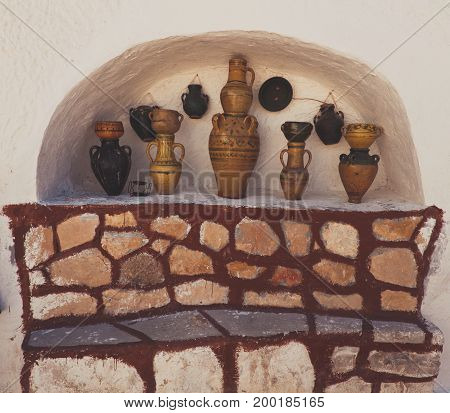 views of national moroccan ceramic vase isolated in white wall niche