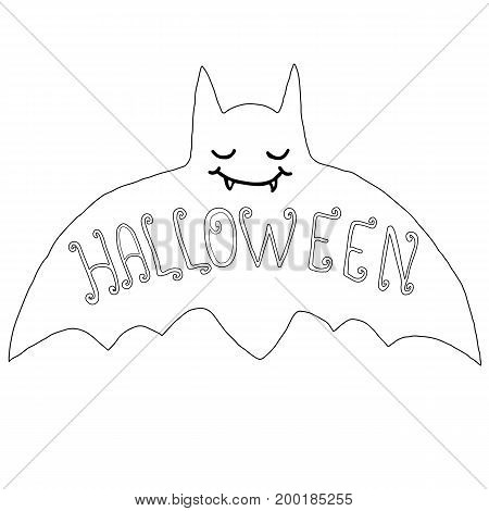 Black and white happy bat isolated. Halloween illustration.Vector hand drawn.Color page for adults and children. Book textile print poster design sticker card