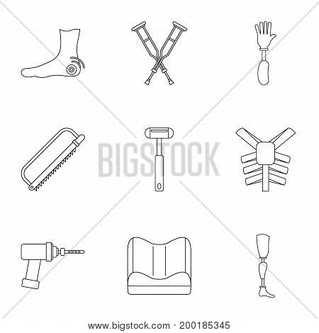 Orthopedic icon set. Outline style set of 9 orthopedic vector icons for web isolated on white background