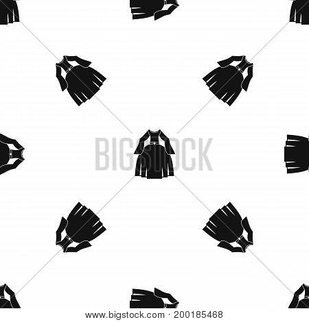 Princess dress pattern repeat seamless in black color for any design. Vector geometric illustration