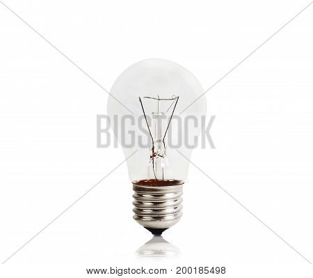 Glass incandescent lamp isolated on white background