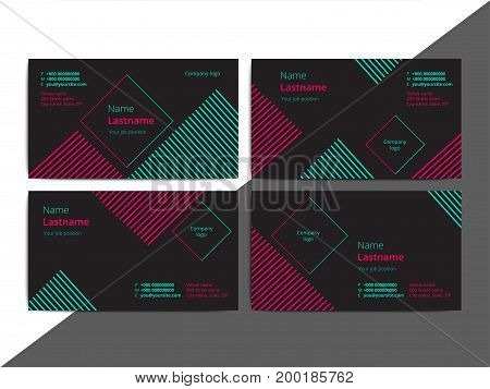Trendy Abstract Business Card Templates. Modern Corporate Stationary Id Layout With Geometric Lines