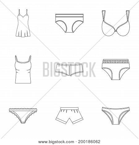 Underwear icon set. Outline style set of 9 underwear vector icons for web isolated on white background