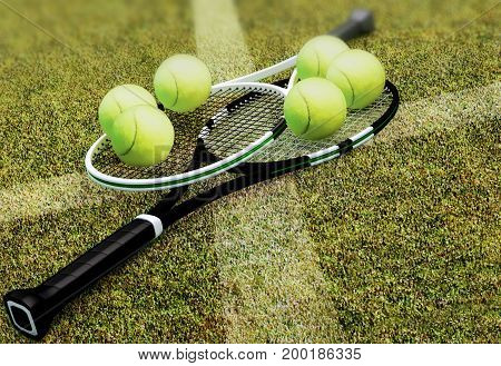 Tennis rackets with balls on hard surface court. 3D illustration