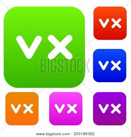 Fat tick and cross set icon in different colors isolated vector illustration. Premium collection