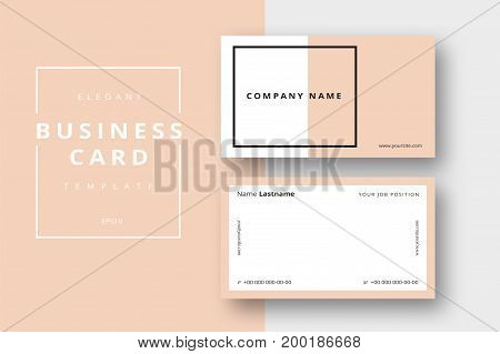 Trendy Minimal Abstract Business Card Templates. Modern Corporate Stationary Id Layout With Geometri