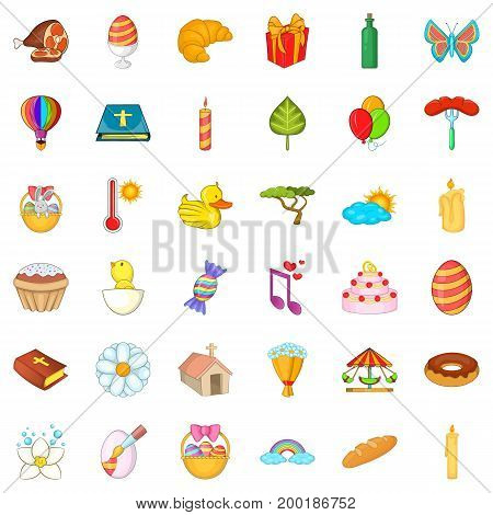 Good easter icons set. Cartoon style of 36 good easter vector icons for web isolated on white background