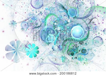 Beautiful Green And Blue Bouquet On White Background. Abstract Fantastic Fractal Flowers And Gems. P