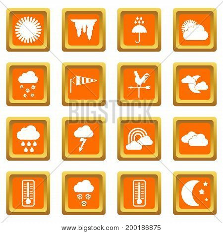 Weather icons set in orange color isolated vector illustration for web and any design
