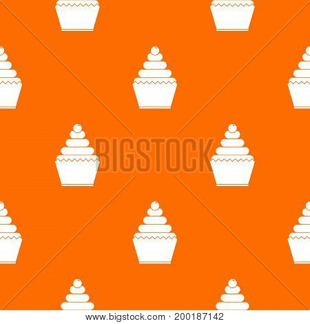 Cupcake pattern repeat seamless in orange color for any design. Vector geometric illustration