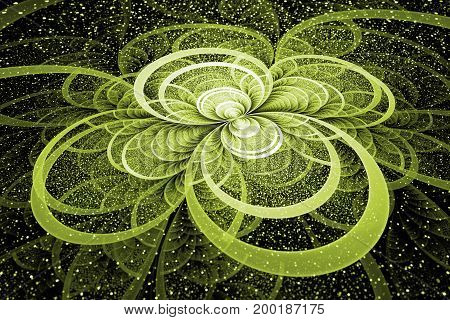Abstract Exotic Green Flower With Shining Sparks On Black Background. Fantastic Fractal Design. Psyc