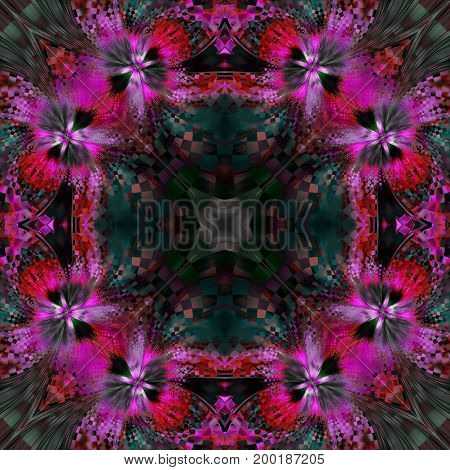 Abstract Exotic Flower. Seamless Mosaic Pattern. Fantastic Symmetrical Fractal Design In Bloody Red,