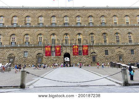 FLORENCE, ITALY - JULY 25, 2017: piazza of Palazzo Pitti - Tuscany