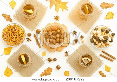 Top view of autumn food gathering table. Tea party. Toned
