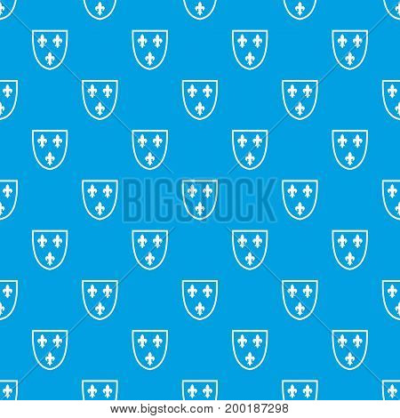 Crest pattern repeat seamless in blue color for any design. Vector geometric illustration