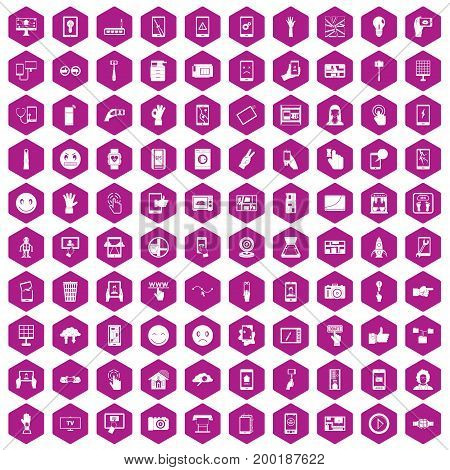 100 touch screen icons set in violet hexagon isolated vector illustration