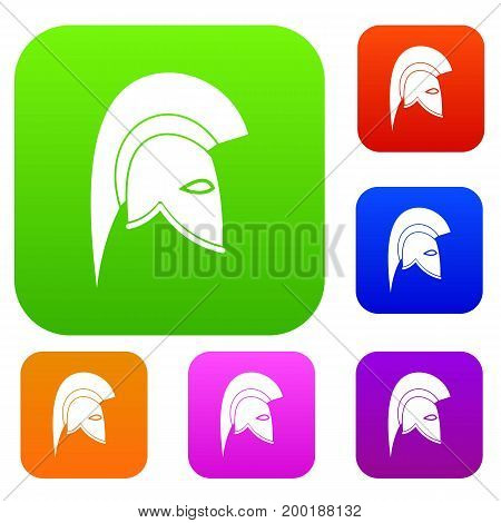 Roman helmet set icon in different colors isolated vector illustration. Premium collection