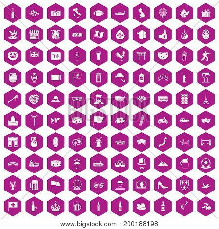 100 tourist attractions icons set in violet hexagon isolated vector illustration