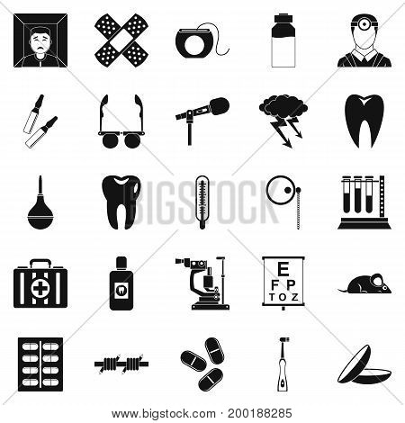 Medico icons set. Simple set of 25 medico vector icons for web isolated on white background