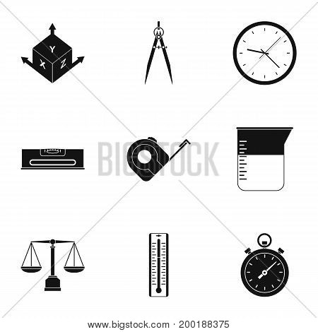 Dimension icon set. Simple style set of 9 dimension vector icons for web isolated on white background